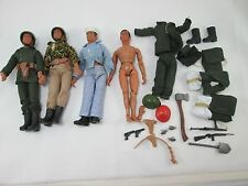"""Unmarked 7"""" Military Action Figures Lot of 4 with Accessories Vintage"""