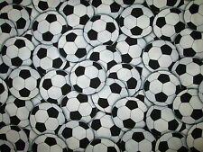 Soccer Ball Futbol Sports Olympics Overall Black White Cotton Fabric BTHY
