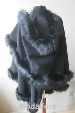 Women's Brand New Black Wool & Cashmere  Wrap Cape with Fox Fur Trims