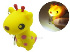 Yellow Giraffe Key Chain Ring with LED Light and Animal Sound