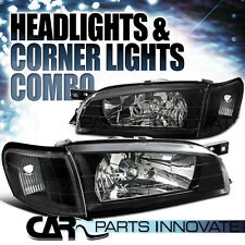 For 1995-2001 Subaru Impreza Black Crystal Headlights+Clear Corner Signal Lamps