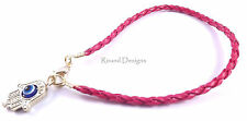 Hamsa Red Leather Bracelet Evil Eye Charm Kabbalah Hand Gold Pendant Amulet