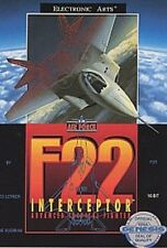 NEW W/CRUSHED BOX  F-22 Interceptor   for Sega 16 BIT GENESIS SYSTEM CONSOLE