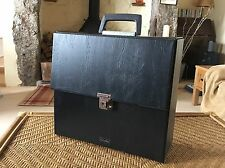 Vintage Retro Record Case Storage Boots Black W/ Handle LP Vinyl / Singles / 45s