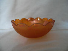 "Vintage Jeanette Depression Carnival Glass 7"" Bowl Marigold TREE BARK"