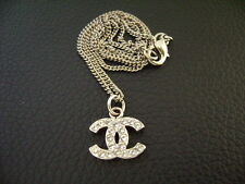 Auth Chanel Silver CC Crystal Pendant w/ Silver Thin Chain Necklace(B10V)