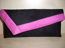 SMALL BLACK AND PINK  faux suede asymmetrical clutch bag,  lined BN,