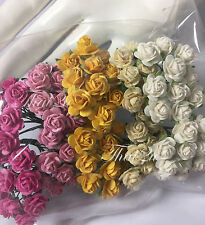 100 Mini Mixed Roses Mulberry Paper DIY Crafts Scrapbook Wedding Flower R2-623