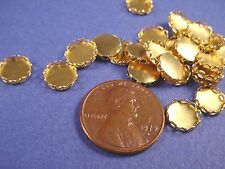 Brass Round Lace Edge Bezel Cups 7mm  30 Pieces