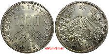 Japan Silver Year 39 1964 1000 Yen Showa Olympics UNC Y# 80