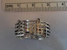 size 8.5 Sterling Silver Music Notes Treble clef on Staff 10mm Wide Band Ring