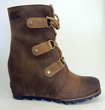 NEW $250 Sorel Joan of Arctic Wedge Mid Leather Boots Womens 9.5 Elk Brown