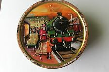"Silver Crane, London, Round Tin Box ""TRAINS'' Jacobsen's Bakery Cookie 7.5''"
