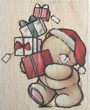 Cute SANTA HAT FOREVER FRIENDS TEDDY CARRYING GIFTS Christmas Rubber Stamp