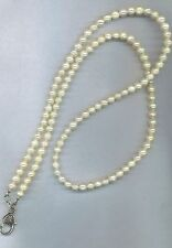 wire beaded lanyard id badge eyeglass holder necklace REAL PEARL classy #1