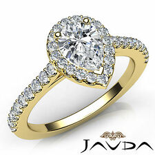 Womens Pear Diamond Shared Prong Engagement Ring GIA F VS1 18k Yellow Gold 1Ct