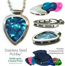 Musicians' Favorite GUITAR PICK HOLDER Pickbay NECKLACE + Gemtones Picks Set