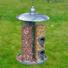 Large Garden Deluxe Hanging 3 in 1 Suet Fat Ball, Seed & Nut Wild Bird Feeder