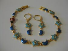 Joan Rivers Enameled Moon and Star Ladybug Bracelet and Earring Set