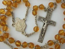Vintage Catholic Rosary AMBER yellow glass from France beautiful Crucifix medal