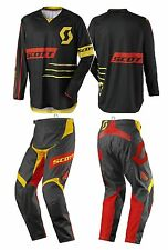 TUTA MAGLIA PANTALONI CROSS ENDURO SCOTT 350 DIRT NERO GIALLO YELLOW 34(50) L