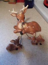 Vintage 3 PC Set of Deer Figurines Mother with Babies on Chain- Japan