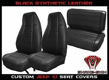Jeep Wrangler YJ Black Custom Seat Covers Front & Rear Syn Leather Perfect Fit