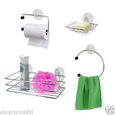 4 Piece Suction Bathroom Accessory Set Toilet Roll Soap Towel Toothbrush Holder