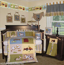 Baby Boutique - On the Farm - 14 Pcs Crib Nursery Bedding Set Incl. Lamp Shade