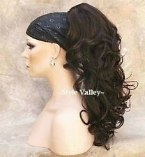Medium Brown Ponytail Extension Hair Piece Long Curly Claw Clip in/on Hairpiece