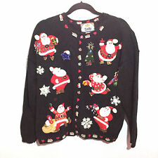 Tiara Christmas Cardigan Sweater Size Large Black Xmas Trees Santas Embellished