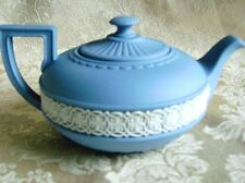 LOVELY AND RARE WEDGWOOD WHITE ON BLUE JASPERWARE TEAPOT  - MINT
