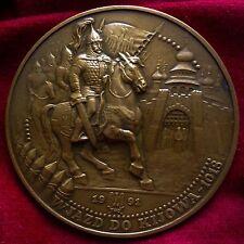 Bronze Statue Medal Horse Battle Knight Sword Shield Warrior Brave King Crown