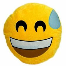 New EMOJI EMOTICON Pillow Plush SMILE W/ SWEAT Face Fun Yellow Dorm Toy gift