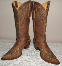 Women's 10 B Old Gringo Distressed Leather Cowboy Boots Viridiana Worn Once