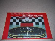 1990s BANKED OVAL SPEEDWAY PORTABLE SLOT CAR ADVERTISING POSTCARD
