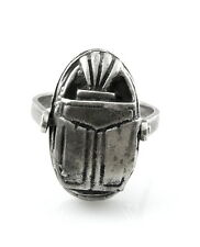 Big Vintage 1980s 90s Egyptian Revival Scarab Design Sterling Silver Ring Sz 11