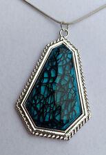 Schlangenkette Metall Anhänger 6 cm silber türkis blau schwarz Glas *NEU*