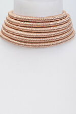 "10"" rose gold 6 layer multi strand row coil choker collar necklace balmain 073"