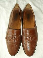 HANDMADE ITALIAN MEN'S SHOES BROWN LEATHER UPPER OXFORDS US SIZ 13.5 D