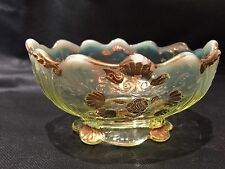 Antique Collectible Opalescent Yellow Green Gold Glass Pedestal Candy Dish FS