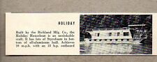 1960 Magazine Photo Holiday Houseboat Boats Richland Mfg Co.