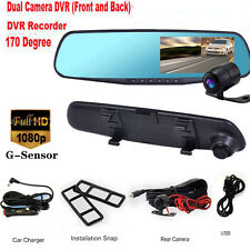 "4.3"" LCD Car Rear View Backup Mirror Monitor+Dual Lens IR DVR Camera G-sensor"