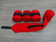 4 PACK ELASTICATED EXERCISE BANDAGES IN RED - VELCRO FASTENING