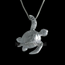 Honu Turtle Hawaiian Jewelry 925 Sterling Silver 3D Shiny Slider Pendant