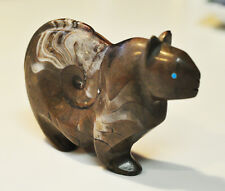 Ammonite fetish Mountain Lion carving by master Zuni carver Rosella Lunasee