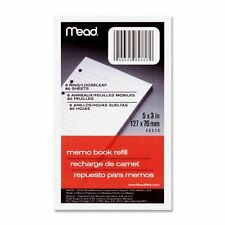 "Mead Memo Book Refill,Narrow Ruled,Bhp,5""X3"",80 Sh,White"