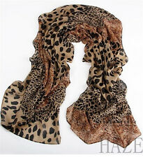 New Fashion Scarf  Women's Soft Wrap Lady Shawl Silk Leopard Chiffon Scarf  FR*
