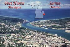Port Huron Michigan & Sarnia, Ontario Canada, Blue Water Bridge etc. -- Postcard