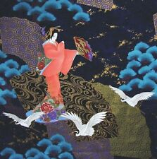 Japanese Cotton Fabric Kona Bay Panel Dancing Geisha Lady Birds Cranes Fans